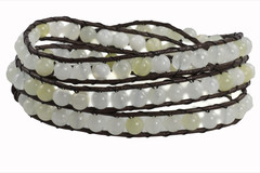 Leather Wrap Bracelet with Gemstone - WHITE (09)