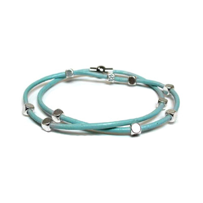 Bracelet - Blue with silver plated beads