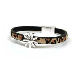Bracelet - Leopard Print wrap around with Silver daisy