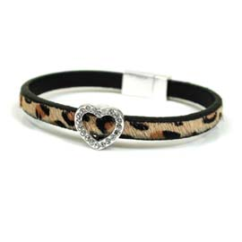 Bracelet leopard print with silver crystal studded heart