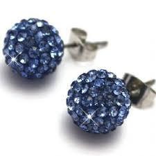 Shamballa Crystal Disco Ball Earrings - BLUE