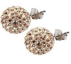 Shamballa Crystal Disco Ball Earrings - CHAMPAGNE GOLD