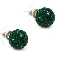 Shamballa Crystal Disco Ball Earrings - EMERALD GREEN