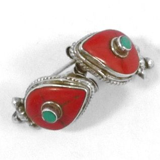 Silver  earrings with  turquoise & red Agate