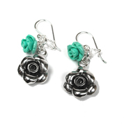 Silver Flower Earrings  Turquoise & Crystal  Beads