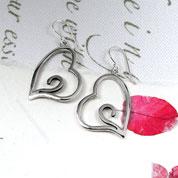 Silver Heart Earrings  with Swirls