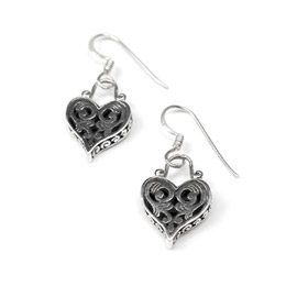 Silver Heart Earrings with pattern