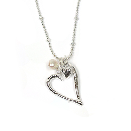 Silver Heart pendant with little heart charm & white pearl.