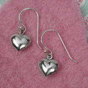 Silver Small  Heart drop Earrings