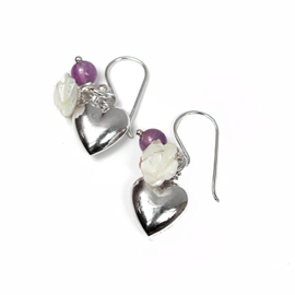 Silver heart earrings Amethyst & mother of pearl