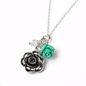Flower Necklace Turquoise & Crystal