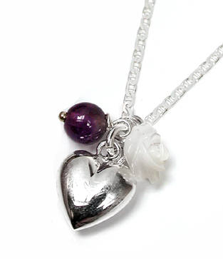 Sterling silver heart Necklace Amethyst bead & mother of pearl