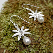 Silver flower pearl  and crystal earrings