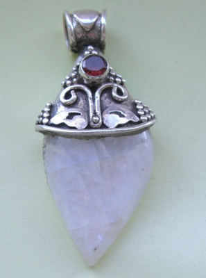 Moonstone & Silver Pendant with Ruby