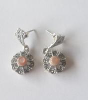 Pink Marcasite Silver Earrings
