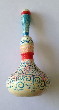 Eyeliner (Sormeh) Wood Container & applicator - White with Swirls (SB106)