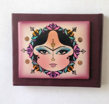 Cosmetic handbag mirror Hand painted on leather (PML07)