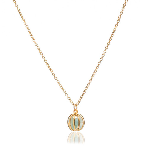 Gemstone Cage necklace Gold Plated with Amazonite (MINT)
