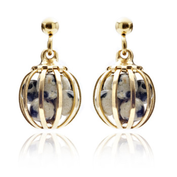 Gemstone Cage Earrings Gold plated with Dalmation Jasper  (CREAM & BLACK )