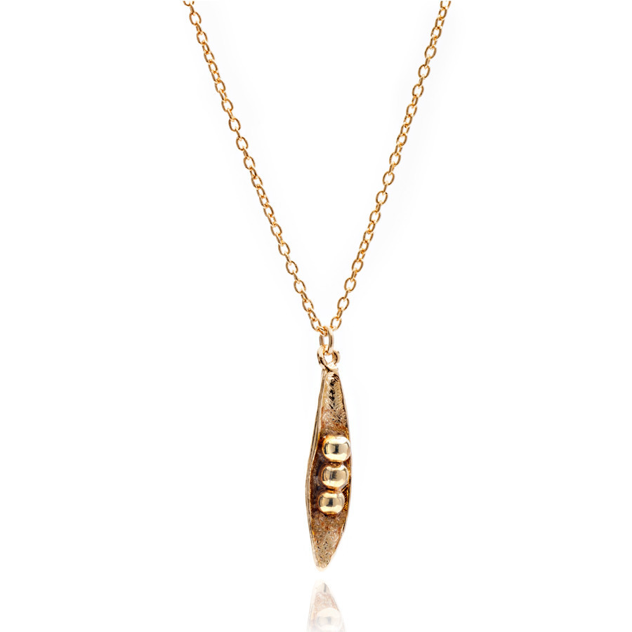 Peas in a Pod necklace with Gold Plated  fine chain