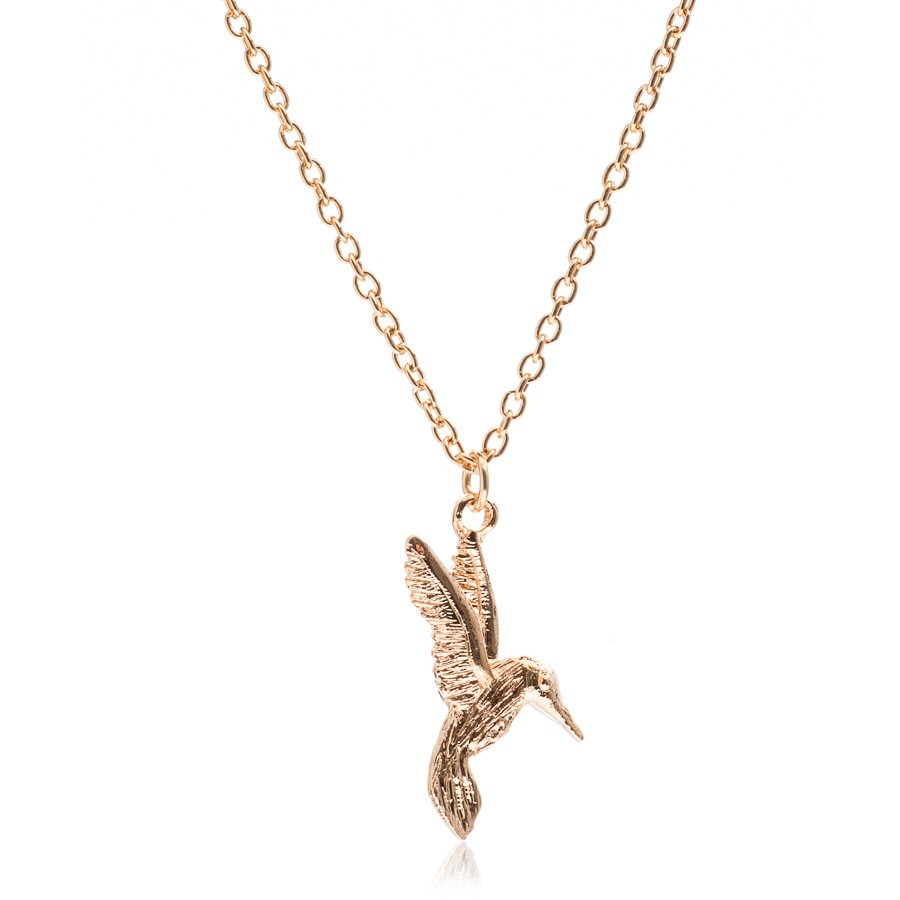 Hummingbird Charm Necklace Silver handmade with chain