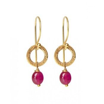 Ruby Earrings - Gold Plated (1283)