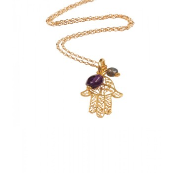 Fatima hand gold filigree with Amethyst (170)