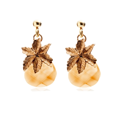 Crystal Pineapple earrings necklace Gold Plated