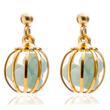 Gemstone Cage earrings with Amazonite (MINT)