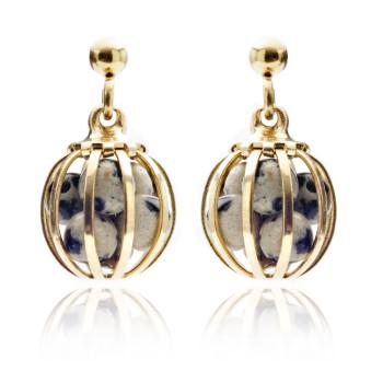 Gemstone Cage earrings Dalmation Jasper
