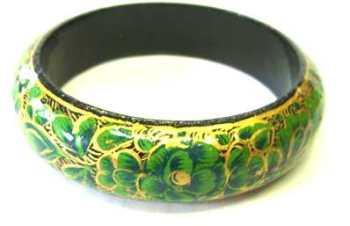 Kashmir Bangle - Ethnic Indian hand painted  GREEN B404