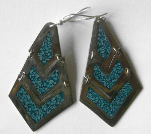 Mexican earrings Silver with crushed Turquoise (MEX23)