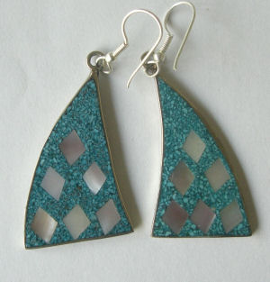 Mexican earrings Silver with crushed Turquoise (MEX25)