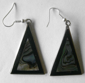 Mexican earrings black inlaid with shell   -  (mex26)