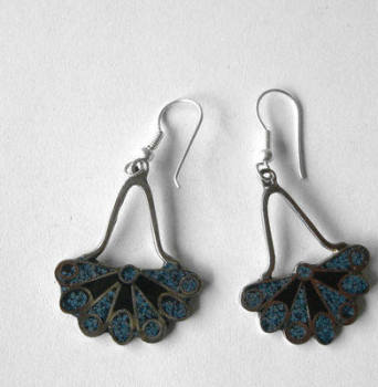 Mexican earrings Silver with crushed Turquoise (MEX17)