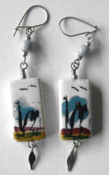 Earrings from Peru - Hand painted ceramic - PO6
