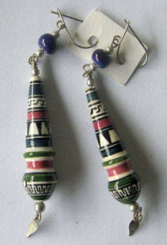 Earrings from Peru - Hand painted ceramic - PO5