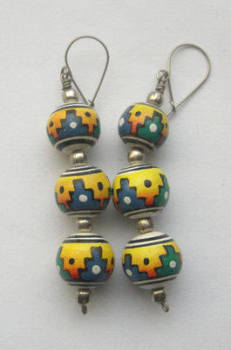 Earrings from Peru - Hand painted ceramic PO3