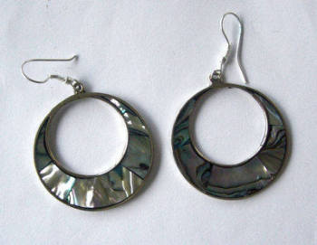 Mexican earrings inlaid with Abalone (Mex10)