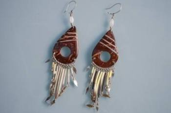 Earrings from Peru - Coconut and quill  PO1
