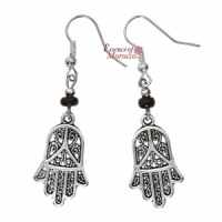 Silver Earrings - Hand Of Fatima with black beads