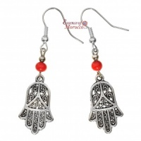 Silver Earrings - Hand Of Fatima with red beads