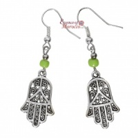 Silver Earrings - Hand Of Fatima with green beads