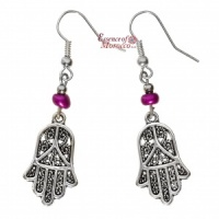 Silver Earrings - Hand Of Fatima with purple beads