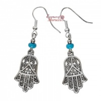 Silver Earrings - Hand Of Fatima with blue beads