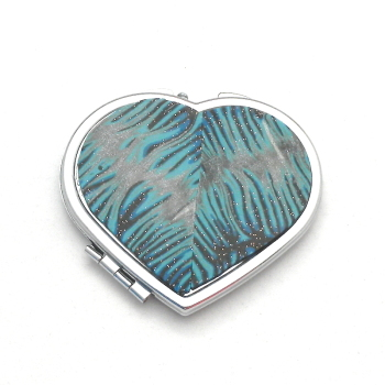 Heart Compact Mirror , Blue and Silver make up Mirror Gift Accessory