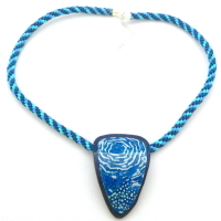 Blue Polymer Clay Statement Necklace