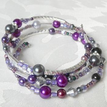 Pearl Bracelet, Memory Wire Purple and Silver Wrap Bracelet