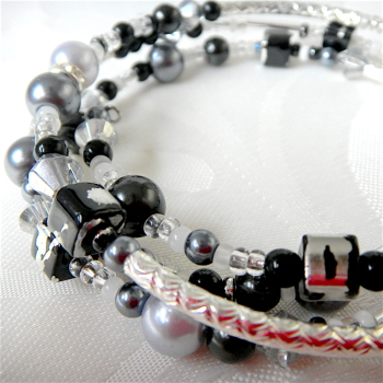 Memory Wire Black, Grey and Silver Bracelet, Pearl Wrap Bracelet