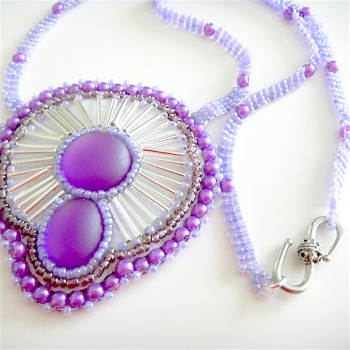 Purple Seed Bead Necklace,  Beaded Purple Luna Soft Cabochon